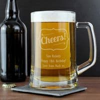 Personalised Cheers Glass Pint Stern Tankard